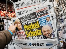 Newspaper with Angela Merkel Martin Schulz portrait before the e Royalty Free Stock Image