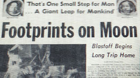 Newspaper Announcing First Footsteps on the Moon Stock Photos
