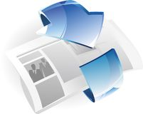 Newspaper with arrow Royalty Free Stock Images