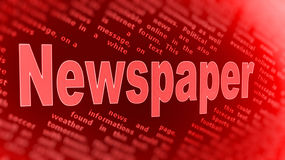 Newspaper background. A red sign or poster with the words Newspaper on a background of text Stock Photos