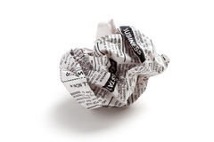 Newspaper ball Royalty Free Stock Photos