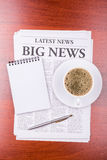 The newspaper  BIG NEWS  and coffee Royalty Free Stock Image