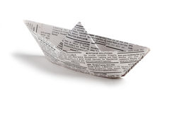 Newspaper boat stock images