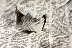Newspaper Boat on the News Stock Photo