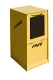 Newspaper box. This is a picture of a yellow newspaper box used for the distributiond of free circulation papers Royalty Free Stock Photography