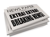Newspaper with breaking news. Isolated, 3D rendering Stock Photography
