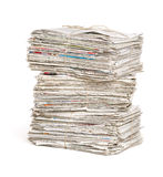 Newspaper bundles on a white background Stock Image