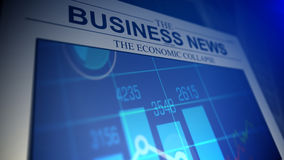 Newspaper with business news titles. Stock Photos