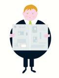 Newspaper and businessman caroon Stock Photo