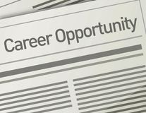 Newspaper Career Opportunity ad, Employment concep Royalty Free Stock Photo