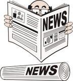 Newspaper cartoon. Cartoon man reading newspaper with news headline Royalty Free Stock Photography