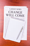 The newspaper Change Will Come Royalty Free Stock Photo