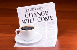 The newspaper CHANGE WILL COME Stock Image