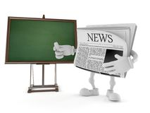 Newspaper character with blank blackboard. Isolated on white background. 3d illustration Royalty Free Stock Image