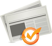 Newspaper check mark cycle illustration Royalty Free Stock Images