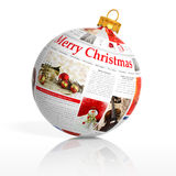 Newspaper Christmas ball Stock Images