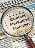 We`re Hiring Content Marketing Manager. 3D. Newspaper with Classified Ad Content Marketing Manager. Content Marketing Manager - Close Up View Of A Classifieds Stock Photos