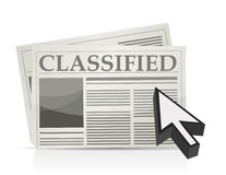 Newspaper classified ads page and cursor stock illustration