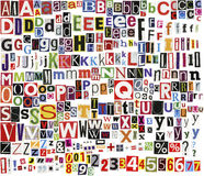 Newspaper clippings alphabet Stock Photography
