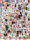 Newspaper clippings alphabet. Big size newspaper, magazine alphabet with letters, numbers and symbols. Isolated on white background Royalty Free Stock Photo