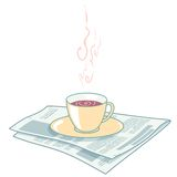 Newspaper and coffee royalty free illustration