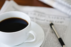 Newspaper and Coffee Royalty Free Stock Photos