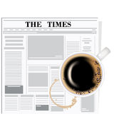 The newspaper and coffee Royalty Free Stock Photo