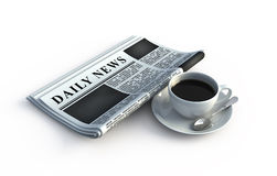 Newspaper and coffee cup Royalty Free Stock Photos