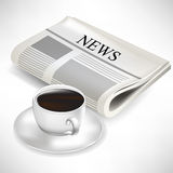 Newspaper and coffee cup Stock Photos