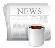 Newspaper and coffee cup. Folded newspaper and white cup of hot coffee Royalty Free Stock Photography