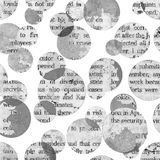 Newspaper collage clippings with mixed text. Newspaper aged old vintage collage clippings with mixed unreadable text on white background. Newspaper texture Stock Photos
