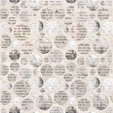 Newspaper collage clippings with mixed text. Old newspaper texture. Newspaper collage clippings with mixed unreadable text on beige gray aged vintage background Royalty Free Stock Images