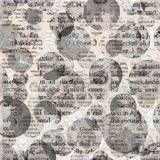 Newspaper collage clippings with mixed text. Old newspaper texture. Newspaper collage clippings with mixed unreadable text on beige gray aged vintage background Royalty Free Stock Photos
