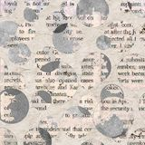 Newspaper collage clippings with mixed text. Newspaper collage clippings with mixed unreadable text on beige gray aged vintage background. Old texture paper with Stock Photo