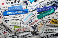 Newspaper collage. Collage of paper headlines about the world economy Stock Photography