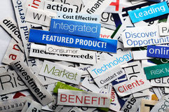 Newspaper collage. Collage of paper headlines about the world economy Stock Image