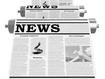 The newspaper on the conveyor Royalty Free Stock Image