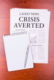 The newspaper CRISIS AVERTED Royalty Free Stock Images