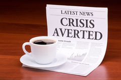 The newspaper CRISIS AVERTED Stock Photography