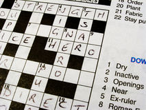 Daily Newspaper Crossword Royalty Free Stock Photos