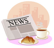 Newspaper with a cup of hot coffee and croissant. Newspaper, a cup of hot coffee and croissant at workplace Royalty Free Stock Photo