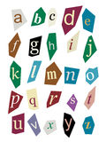 Newspaper cutout letters. Alphabet of newspaper cutout styled letters with pastel colors royalty free illustration
