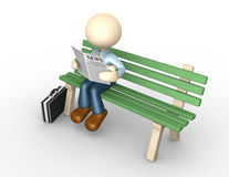 Newspaper. 3d people - man, person reading the newspaper on the bench Royalty Free Stock Photography