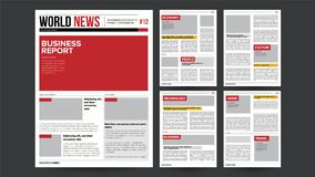 Newspaper Design Blank Vector. Financial Articles, Advertising Business Information. Daily Newspaper Journal Design Stock Photos
