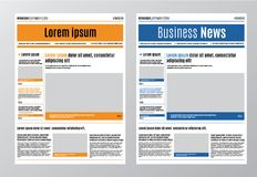 Newspaper design template with red headline, images and charts, articles and financial information, advertising vector Royalty Free Stock Photos