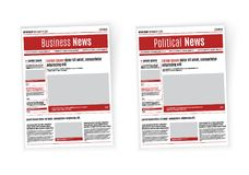 Newspaper design template with red headline, images and charts, articles and financial information, advertising vector Stock Image