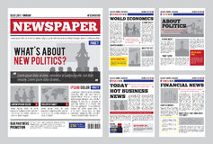 Newspaper Design Template. With red headline, images and charts, articles and financial information, advertising vector illustration Royalty Free Stock Photography
