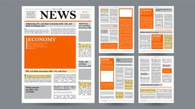 Newspaper Design Template Vector. Images, Articles, Business Information. Opening Editable Headlines Text Articles. Newspaper Design Template Vector. Financial Stock Photos