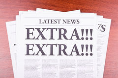 The newspaper Extra!. The newspaper  Latest News Royalty Free Stock Image