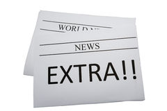Newspaper with extra news Royalty Free Stock Photos